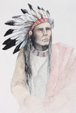 American indian with feathers Royalty Free Stock Image