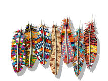 American Indian feathers. American Indian decorated feathers  collection Stock Image