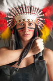 American Indian girl with bag Royalty Free Stock Image