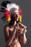 American Indian girl with bag Stock Photography