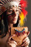 American Indian girl with bag Stock Photo