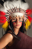 American Indian girl with bag Stock Image