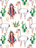 American Indian girl in traditional poncho and lama. Texture with high quality hand painted watercolor elements for your design with cactus plants,flowers,cute Royalty Free Stock Images