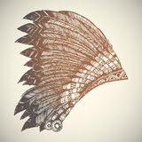 American Indian Headdress. Vintage Hand Drawn Native American Indian Headdress Royalty Free Stock Images