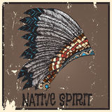 American Indian Headdress. Vintage Hand Drawn Native American Indian Headdress Stock Photos