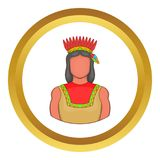 American indian icon. In golden circle, cartoon style isolated on white background royalty free illustration
