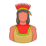 American indian icon, cartoon style. American indian icon in cartoon style on a white background Royalty Free Stock Photo