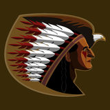 American indian. Illustration of american indian with Royalty Free Stock Photo
