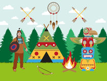 American indian landscape warrior, wigwam and totem vector image Stock Images