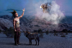 American Indian legend with wolf and eagle Royalty Free Stock Photo