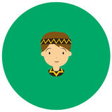American indian man cute icon in trendy flat style isolated on color background. Royalty Free Stock Photography