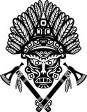 American Indian mask with headdress vector illustration