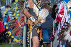 American Indian Pow Wow, Portland, Oregon. Close up of costumes and headdresses during native American Indian Pow Wow, Portland, Oregon stock photo