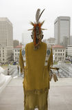American Indian and Powhatan Tribal member. Looking over Richmond Virginia from State Capitol during ceremonies for the 400th Anniversary of the Jamestown Stock Image