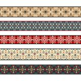 American indian ribbons pattern set. Native ribbon patterns. American indian ribbons, nativity tribal stripe borders vector illustration Royalty Free Stock Photos