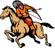 American Indian Riding Horse Bow And Arrow Stock Photo