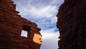 American Indian Ruins in Silhouette Against Sky Stock Photography