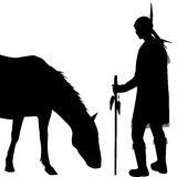 American Indian silhouette with horse Royalty Free Stock Images