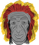 American indian  sketch freehand Stock Image