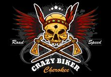 American indian skull - motorcycle graphic design. Vector emblem on black Stock Images