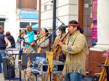 American Indian street Entertainers. Royalty Free Stock Photos