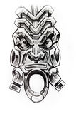 American indian totem, sketch of tattoo Stock Image