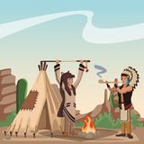 American indian tribe. At village cartoon vector illustration graphic design Stock Photo