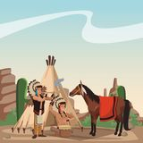 American indian tribe. At village cartoon vector illustration graphic design Royalty Free Stock Photo