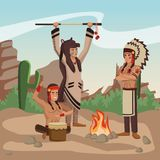 American indian tribe. At village cartoon vector illustration graphic design Stock Images