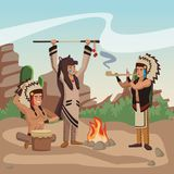 American indian tribe. At village cartoon vector illustration graphic design Royalty Free Stock Image