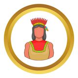 American indian vector icon. In golden circle, cartoon style isolated on white background Royalty Free Stock Images
