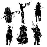 American Indian warriors silhouettes  illustration. Drawing elements set of isolated figures of American Indian warriors silhouettes sketch hand-drawn Stock Photos