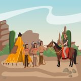 American indian warriors tribe. American indian warriors on horses at village cartoon vector illustration graphic design Stock Photo