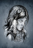 American indian woman, Tattoo sketch Royalty Free Stock Image
