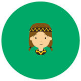 American indian women cute icon in trendy flat style isolated on color background.  Royalty Free Stock Photos