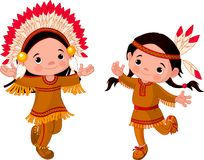 American Indians dancing. Cute couple of American Indians children dancing Royalty Free Stock Photo