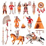 American Indians Decorative Icons Set. With national attributes of clothes and elements of tribal culture cartoon vector illustration Stock Photo
