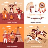 American Indians 2x2 Design Concept. Set of tribal culture indian weapons native americans square icons flat vector illustration Stock Photo