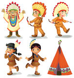 American Indians. Illustration of american red indians Royalty Free Stock Photos
