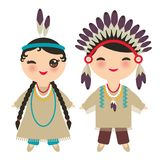 American indians Kawaii boy and girl in national costume. Cartoon children in traditional dress Indigenous peoples of the Americas. Isolated on white background Stock Photos