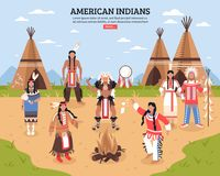 American Indians Poster. American indians cartoon poster with teepees in tribal location and native americans dancing around fire flat vector illustration Royalty Free Stock Photography