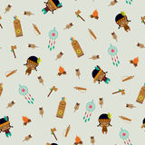 American indians seamless pattern. American indians childish seamless pattern Royalty Free Stock Image
