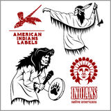 American indians set of vintage emblems, labels and logos in monochrome style Royalty Free Stock Photography