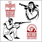 American indians set of vintage emblems, labels and logos in monochrome style Stock Photos