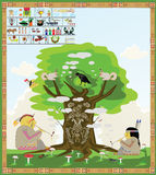American Indians smoke. Two American Indians are smoking along with the animals under the magic tree royalty free illustration