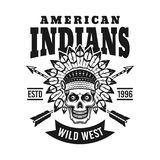 American indians vector emblem with chief skull vector illustration