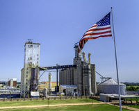 American industry with flag in Illinois Royalty Free Stock Photo