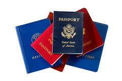 American and International Passports Isolated Stock Photography