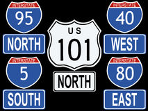 American Interstate signs stock illustration