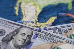 US dollars on the map of Mexico. American investment and trading, mexican economy, relations between USA and Mexico stock image